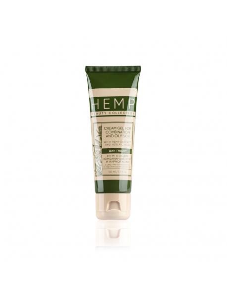 Крем-гель для комбинированной и жирной кожи с экстрактом конопли и азелаиновой кислотой